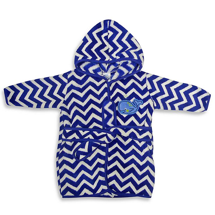 Alternate image 1 for Neat Solutions® Hooded Fleece Bathrobe in Blue Whale