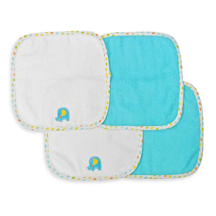 Alternate image 1 for Neat Solutions® 4-Pack Washcloth Set in Turquoise Elephant