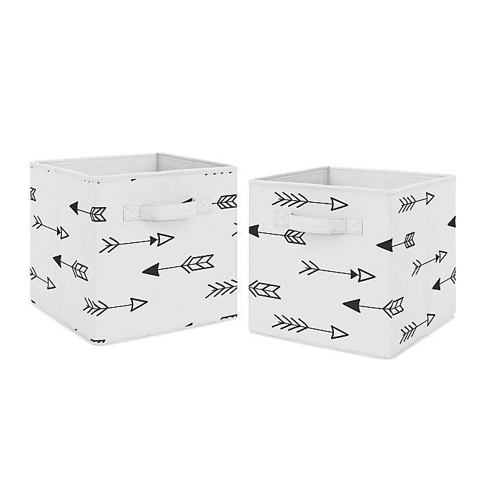 Alternate image 1 for Sweet Jojo Designs® Arrow Fabric Storage Bins in Black/White (Set of 2)