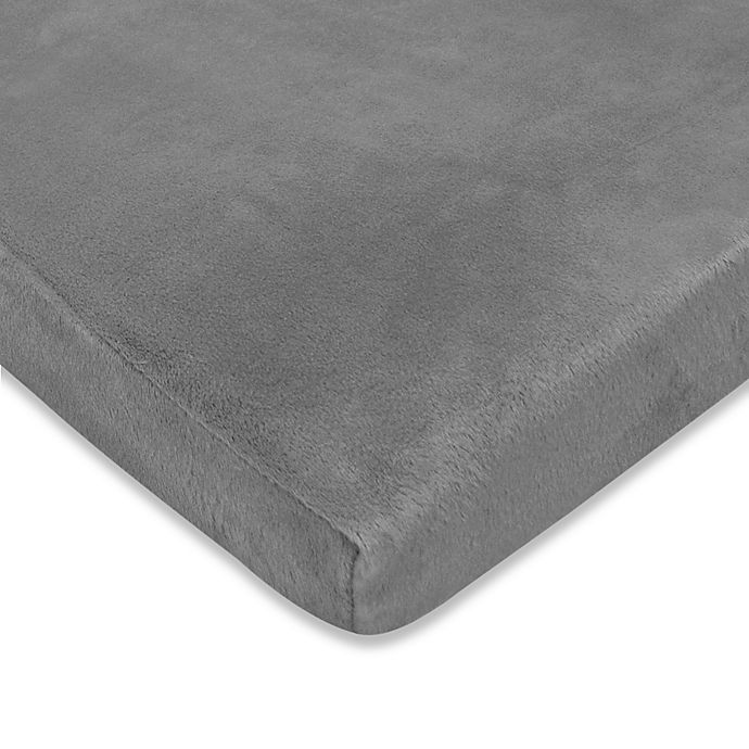 Alternate image 1 for TL Care® Heavenly Soft Chenille Fitted Crib Sheet in Steel Grey