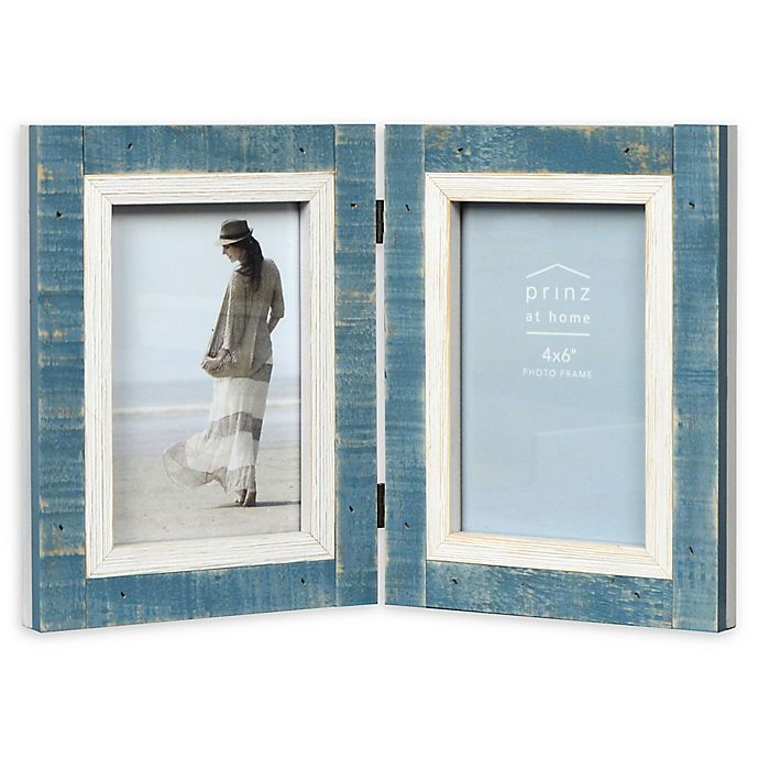 Alternate image 1 for Prinz Shoreline 2-Photo 4-Inch x 6-Inch Hinged Picture Frame in White/Blue