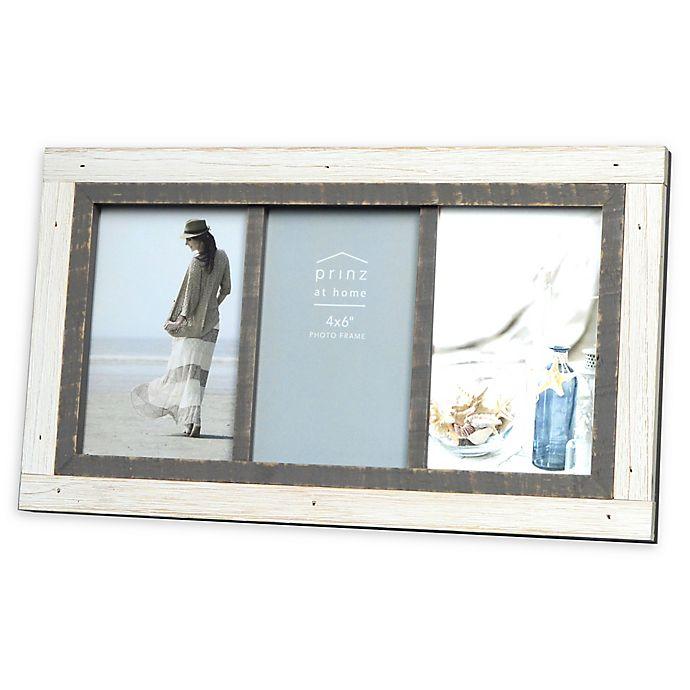 Alternate image 1 for Prinz Shoreline 3-Photo 4-Inch x 6-Inch Picture Frame in White/Grey