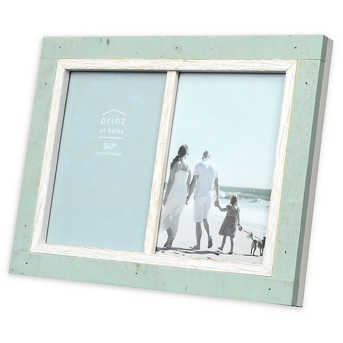 Alternate image 1 for Prinz Shoreline 2-Photo 5-Inch x 7-Inch Picture Frame in White/Green
