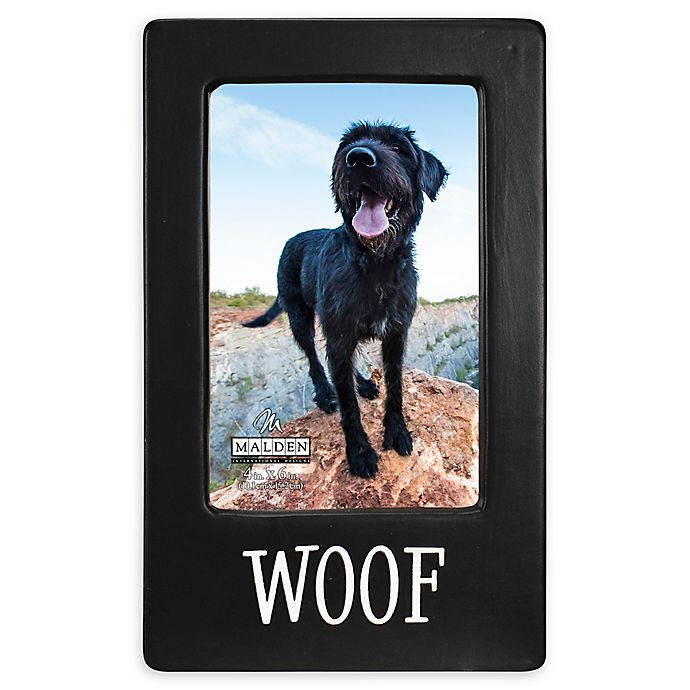 Alternate image 1 for Malden® 4-Inch x 6-Inch Woof Picture Frame in Black