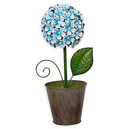 Gerson LED Metal Flower Table Top Decoration in Blue