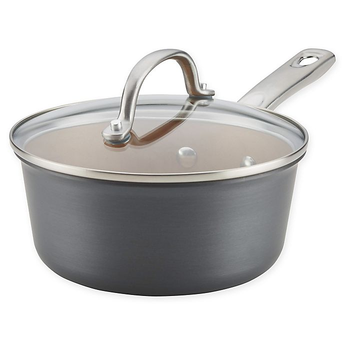 Alternate image 1 for Ayesha Curry™ Hard Anodized Aluminum Covered Saucepan in Charcoal Grey