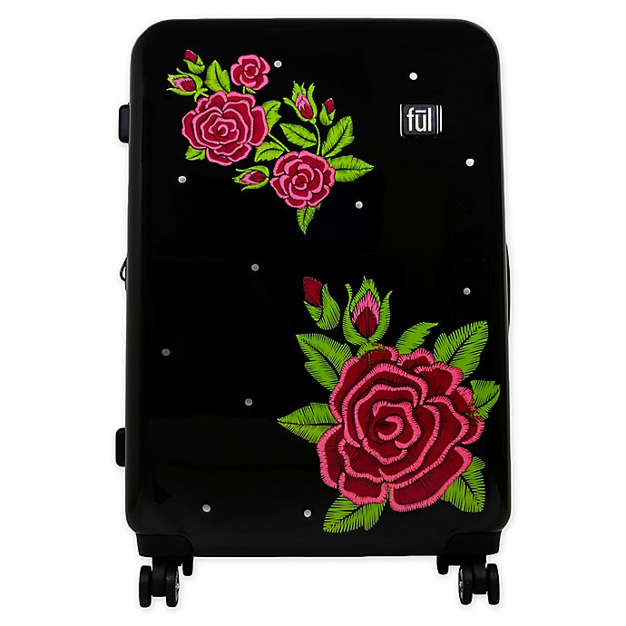 Alternate image 1 for Ful® Printed Rose 21-Inch Hardside Spinner Carry On Luggage in Black