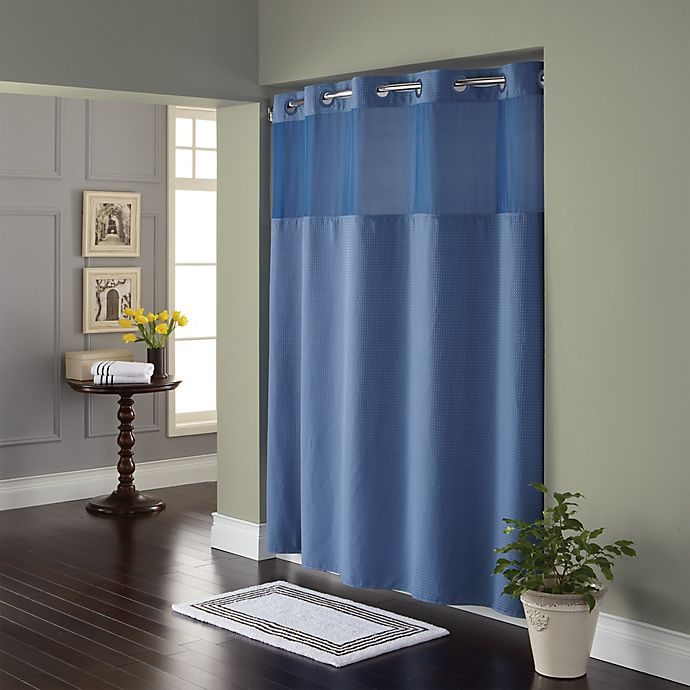 Alternate image 1 for Hookless® Waffle Fabric Shower Curtain in Moonlight Blue