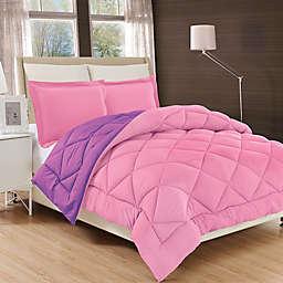 All Season Luxury Diamond Box Reversible Twin/Twin XL Comforter Set in Pink/Purple