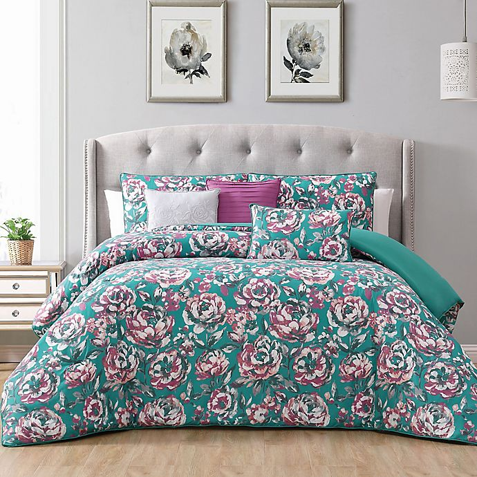 Alternate image 1 for Florianna 5-Piece Reversible Twin Bedding Set in Teal/Berry