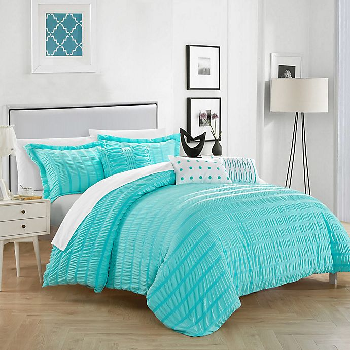 Alternate image 1 for Chic Home Daza 10-Piece Queen Comforter Set in Blue