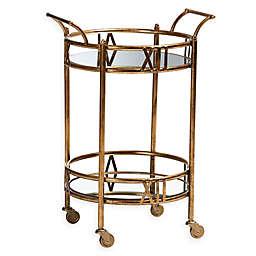 Baxton Studio Sherley Bar Cart in Antique Gold