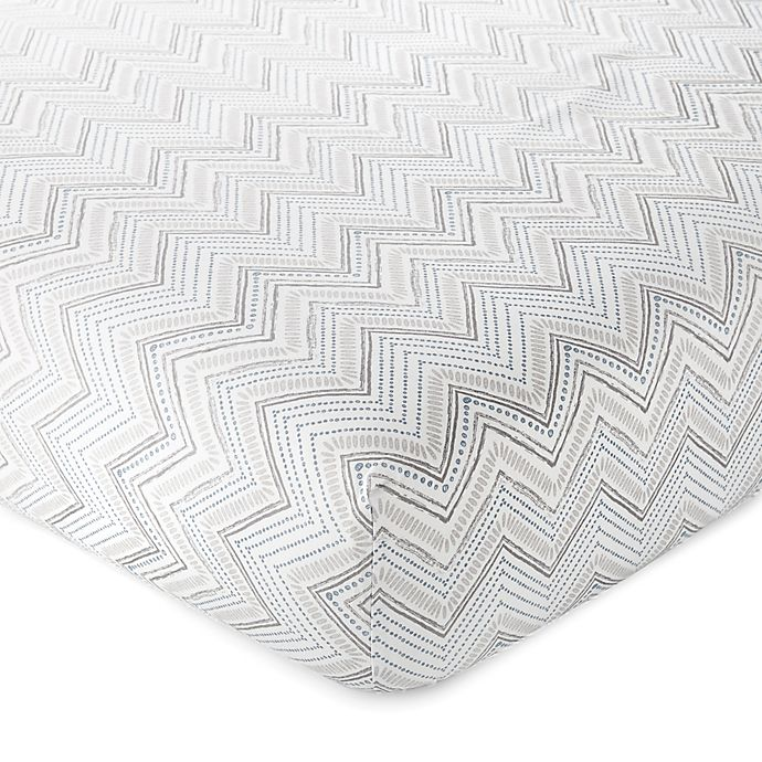 Alternate image 1 for Levtex Baby® Heritage Organic Cotton Fitted Crib Sheet in Grey/Blue