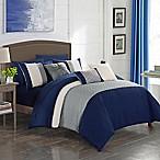 Shai 10-Piece Queen Comforter Set in Navy