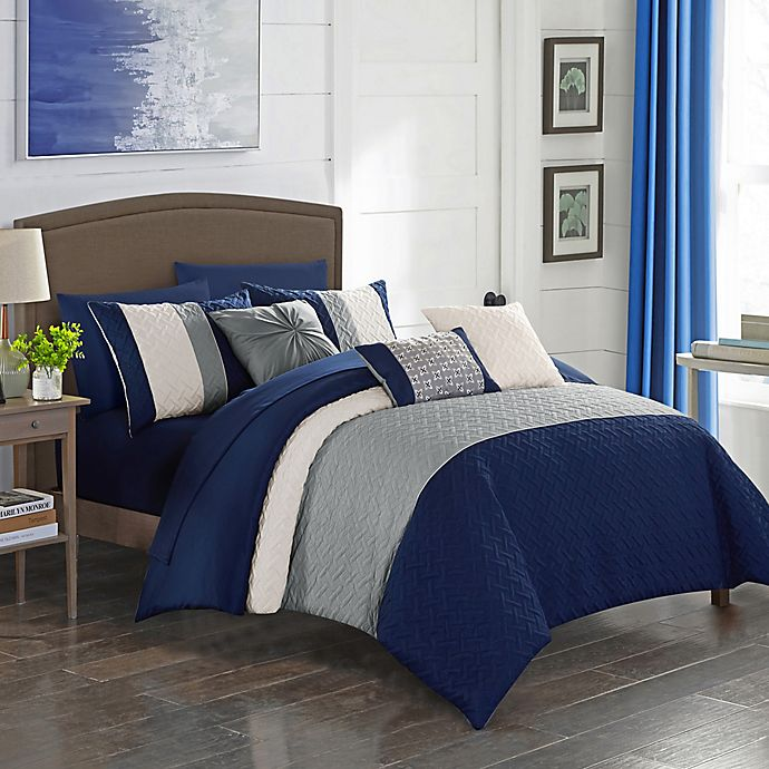 Alternate image 1 for Shai 10-Piece King Comforter Set in Navy