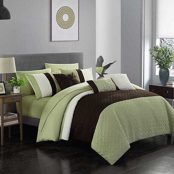 Alternate image 1 for Shai 10-Piece Queen Comforter Set in Green