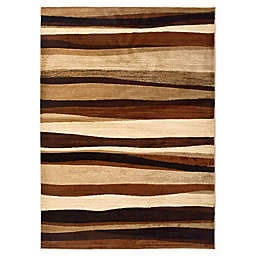 Tribeca Heat Set Wave 5-Foot 3-Inch x 7-Foot 2-Inch Area Rug in Brown