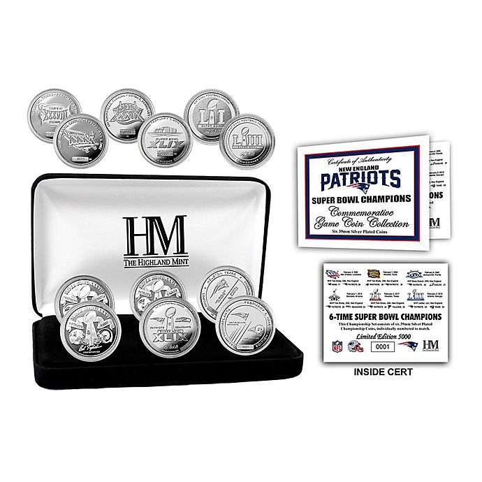 Alternate image 1 for NFL New England Patriots Super Bowl LIII 6-Time Champions 6-Coin Silver Plate Coin Set