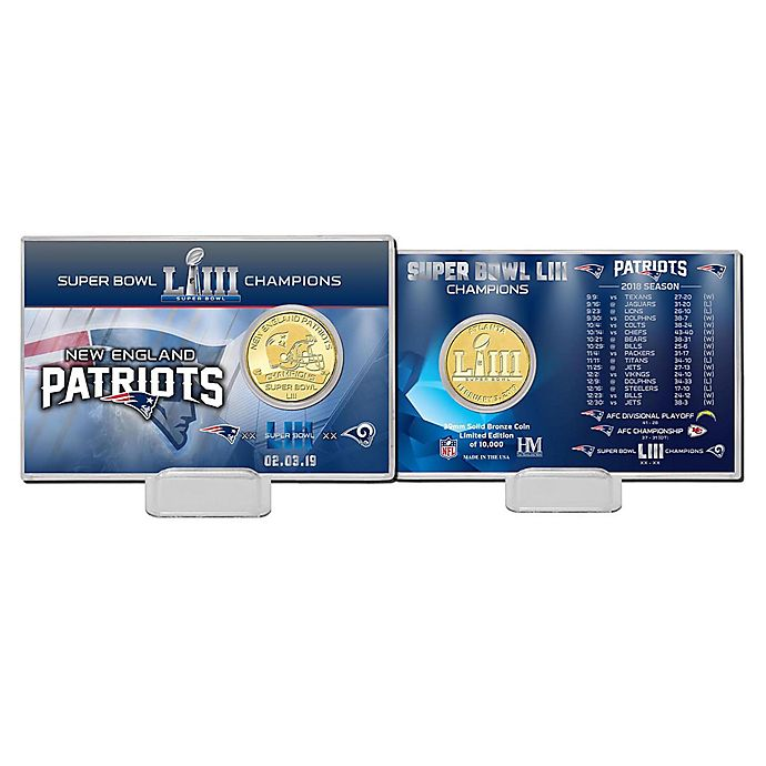 Alternate image 1 for NFL New England Patriots Super Bowl LIII Champions Bronze 39mm Minted Coin