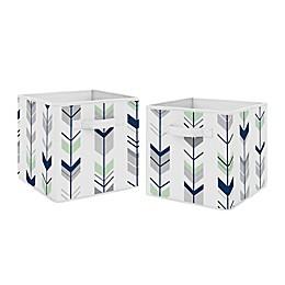 Sweet Jojo Designs® Mod Arrow Fabric Storage Bins in Grey/Mint (Set of 2)