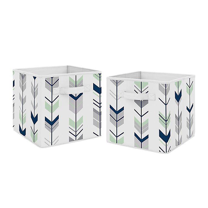 Alternate image 1 for Sweet Jojo Designs® Mod Arrow Fabric Storage Bins in Grey/Mint (Set of 2)