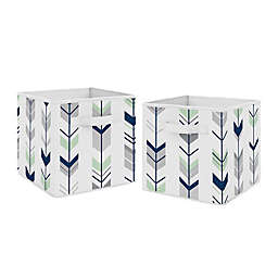 Sweet Jojo Designs® Mod Arrow Fabric Storage Bins in Grey/Mint (Set of 2)