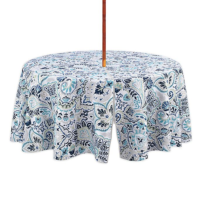 Alternate image 1 for Kastoria 70-Inch Round Indoor/Outdoor Tablecloth with Umbrella Hole in Aqua