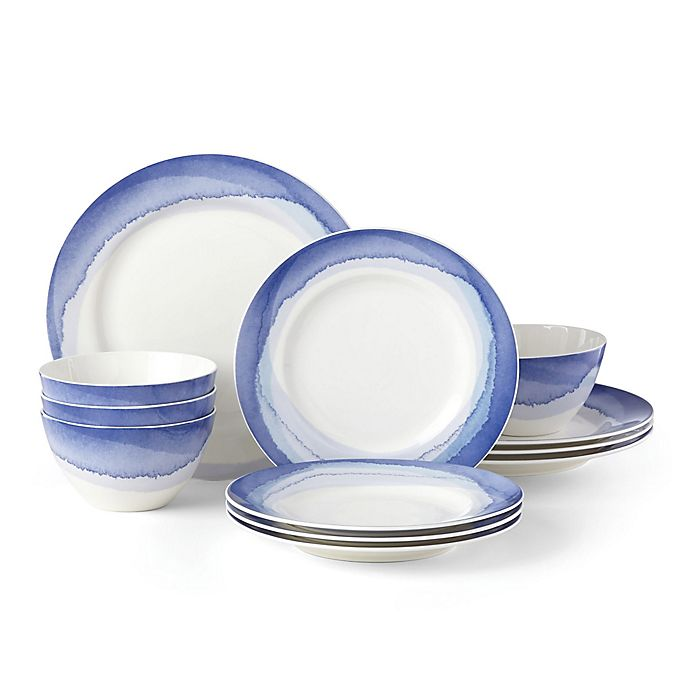 Alternate image 1 for Lenox® Indigo Watercolor Stripe™ 12-Piece Dinnerware Set