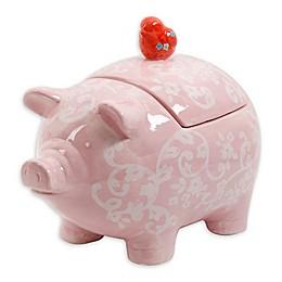 Floral Piggy Cookie Jar in Pink