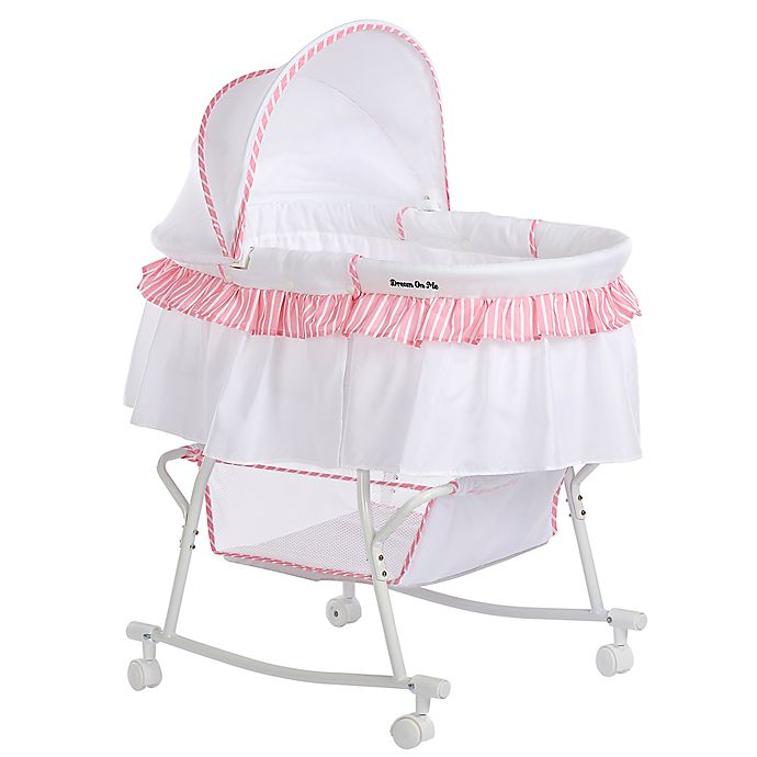 Alternate image 1 for Dream on Me Lacy Portable 2-in-1 Bassinet/Cradle in Pink/White