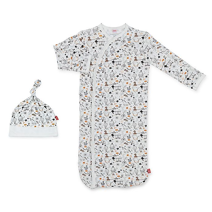 Alternate image 1 for Magnetic Me by Magnificent Baby® Size 0-3M 2-Piece Circus Gown and Hat Set in White