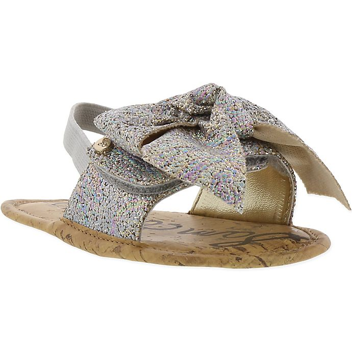 Alternate image 1 for Sam Edelman Glitter Bow Sandals in Silver