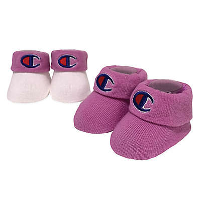 Champion 2-Pack Emblem Booties in Pink/White