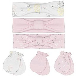Sterling Baby 6-Piece Pineapples Headbands and Mittens Set in Pink