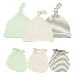 Sterling Baby 6-Piece Lil Peanut Hats and Mittens Set in Green/Grey