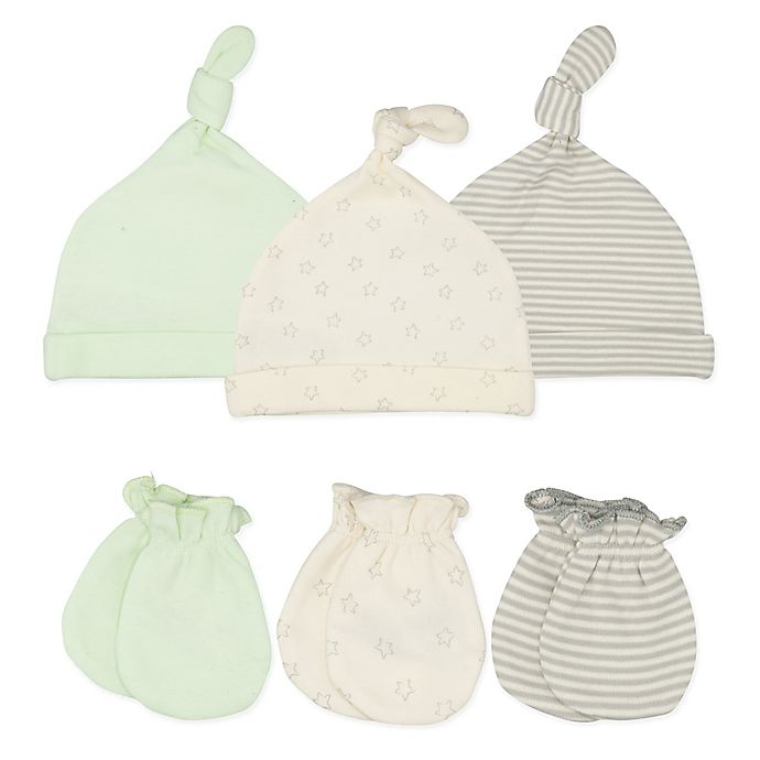 Alternate image 1 for Sterling Baby 6-Piece Lil Peanut Hats and Mittens Set in Green/Grey