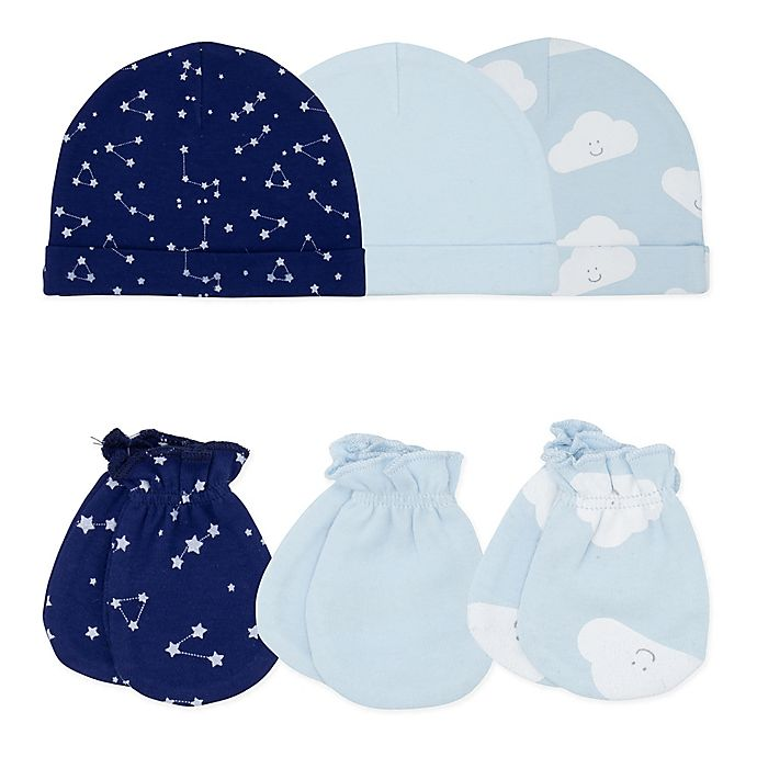 Alternate image 1 for Sterling Baby 6-Piece Constellation Hats and Mittens Set in Blue
