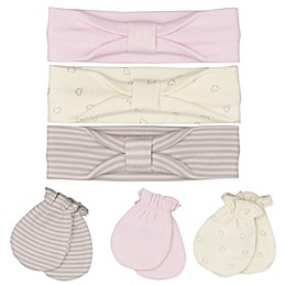 Sterling Baby 6-Piece Love Bug Headband and Mitten Set in Pink