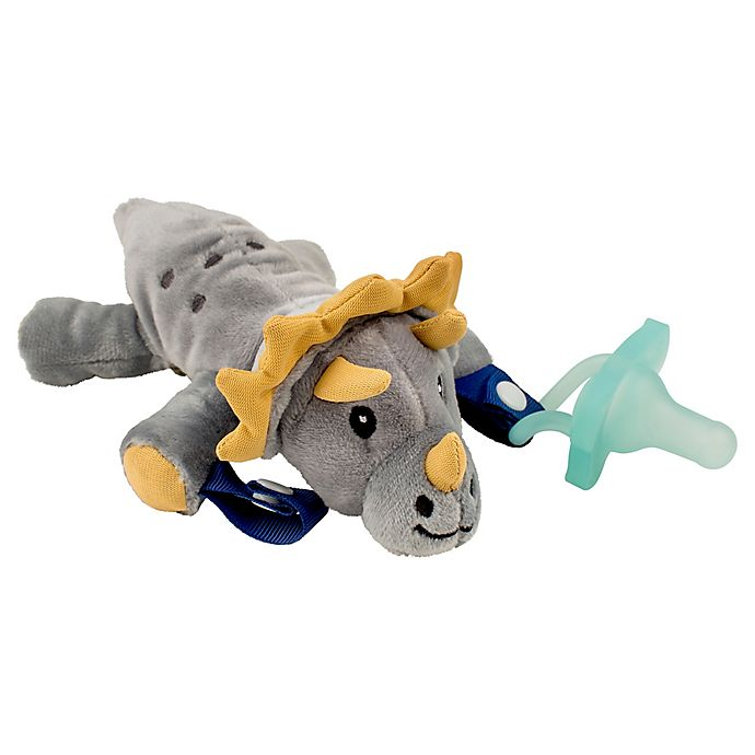 Alternate image 1 for Dr. Brown's® Triceratops Lovey Pacificer and Teether Holder in Grey