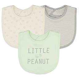 Sterling Baby 3-Pack Little Peanut Double Sided Bibs in Green/Grey