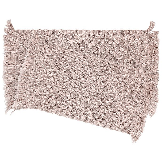 Alternate image 1 for Stonewash Beaded 2-Piece Bath Rug Set in Blush