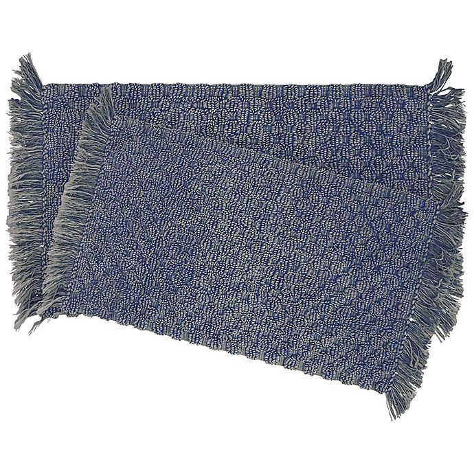 Alternate image 1 for Stonewash Beaded 2-Piece Bath Rug Set in Indigo