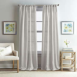 Rose Garden Solid 84-Inch Rod Pocket Window Curtain Panel in Grey