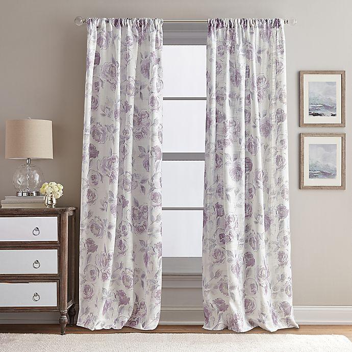 Alternate image 1 for Rose Garden Print 108-Inch Rod Pocket Window Curtain Panel in Amethyst