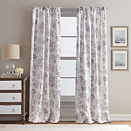 Rose Garden Print 108-Inch Rod Pocket Window Curtain Panel in Amethyst