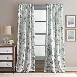 Rose Garden Print 84-Inch Rod Pocket Window Curtain Panel in Aqua