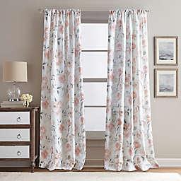Rose Garden Print 108-Inch Rod Pocket Window Curtain Panel in Blush