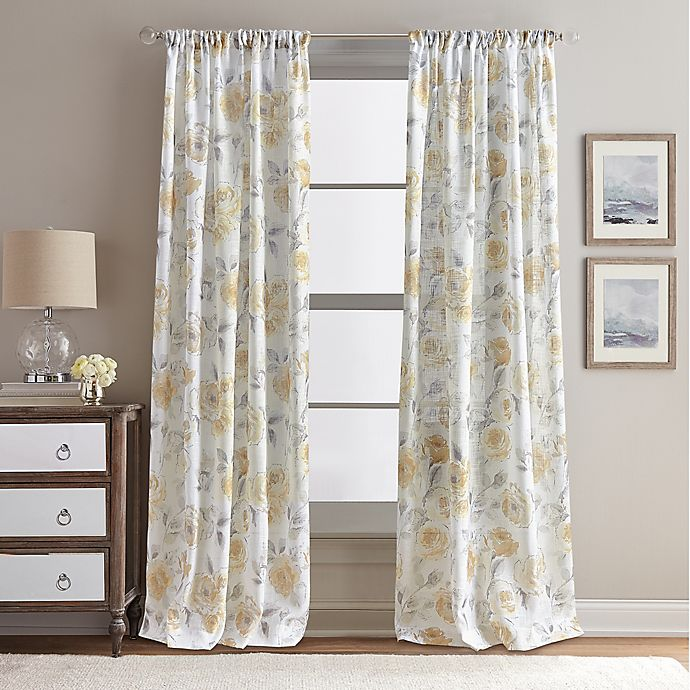 Alternate image 1 for Rose Garden Print 95-Inch Rod Pocket Window Curtain Panel in Butter