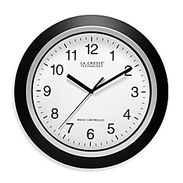 La Crosse Technology 12-Inch Atomic Wall Clock with Black Frame