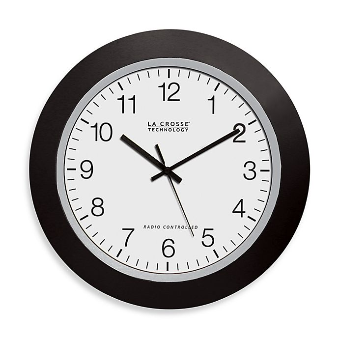 Alternate image 1 for La Crosse Technology Atomic Wall Clock With Black Frame